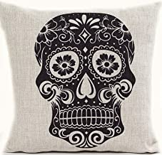 L&J.ART 18'' Retro Vintage Black Sugar Skull Mexican Day of the Dead Linen Throw Pillow Case Cushion Cover KD7