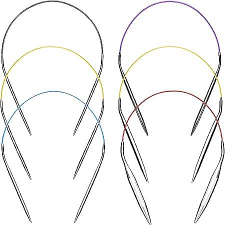 Aiguilles à Tricoter Aiguilles à Tricoter Circulaires 40cm ensemble Kit 6pcs Acier Inoxydable Rond en Métal Taille 2mm 3,5mm 4mm 5mm 6mm 9mm