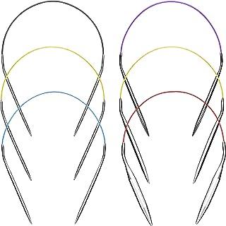 Aiguilles à Tricoter Aiguilles à Tricoter Circulaires 40cm ensemble Kit 6pcs Acier Inoxydable Rond en Métal Taille 2mm 3,5...
