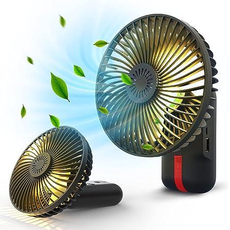 携帯扇風機 GIMOS ハンディファン 卓上扇風機 手持ち扇風機 せんぷうき 扇風機 小型 静音 LEDランプ照明機能 防虫剤入れ usb 充電式 オフィス 熱中症対策 3段階風量調整 4000mAh ポータブルファン 省エネ ブラック黒