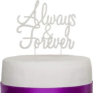 Ella Celebration Always and Forever Wedding Cake Topper, Silver Romantic Rhinestone Decoration (Always & Forever) (Silver)