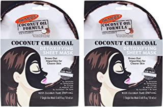 Palmers Coconut Charcoal Detoxifying Sheet Mask - Pack of 2 for Women 0.6 oz Mask