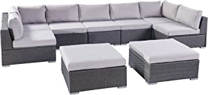 Tom Rosa Outdoor 7 Seater Wicker Sectional Sofa Set with Cushions, Grey with Silver Cushions