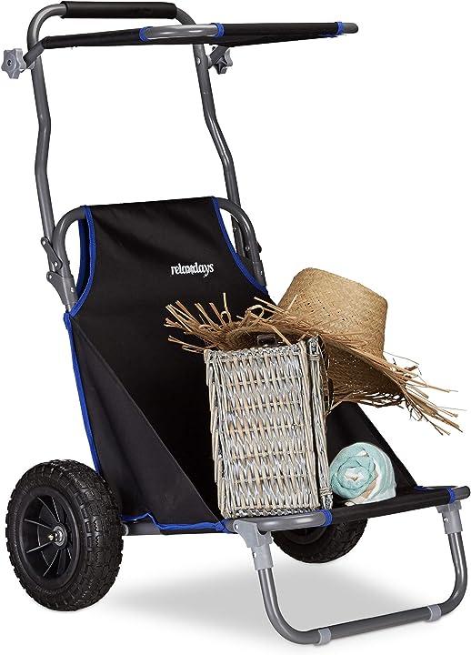 Carrello da spiaggia pieghevole sedia con parasole ruote gomma piena 10020998