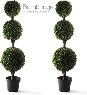 Bornbridge Artificial Boxwood Topiary Ball Tree - 4' Boxwood Ball Tree - Indoor/Outdoor Topiary Trees - Boxwood Artificial Outdoor Plants - Lifelike Buxus Boxwood Plant (2 Pack)