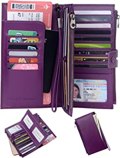 Rfid Blocking Travel Wallet Leather Passport Holder Family Travel Document Organizer (Purple)