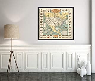 Big Game Fish - 1936 Map of The United States, Fishermen with a Hooked Fish on Most States. Pictorial Border depicts 56 Kinds of Fish