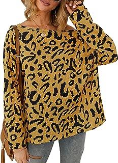 MsLure Women's Off Shoulder Leopard Long Sleeve Top Shirt Waffle Knit Oversized Pullover Sweatshirt Tunic Tops