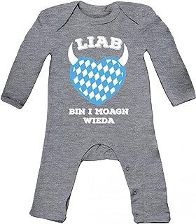 ShirtStreet Gaudi Wiesn Baby Strampler Langarm Schlafanzug Jungen Mädchen Oktoberfest - Liab bin i moagn wieda