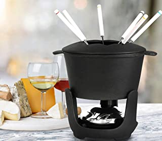 Artestia Cast Iron Fondue Set, 10-Piece, Black