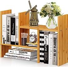 Pipishell Natural Bamboo Desktop Bookshelf, Adjustable Desk