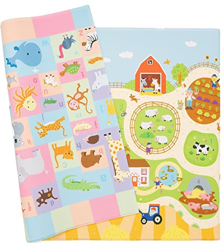 Baby Care Play Mat - Playful Collection (Busy Farm, Medium) - Play Mat for Infants – Non-Toxic Baby Rug – Cushioned B...
