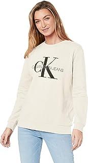 Calvin Klein Jeans Women's Monogram Logo Sweatshirt, Egret, L