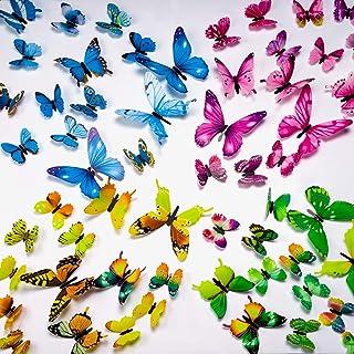 UNEEDE 72 Unids Mariposa Pegatinas de Pared 3D DIY Arte Decoración Artesanía Luminoso Mural Sticker para Niños Dormitorio Dormitorio Sala de estar y Decoración de Cumpleaños