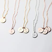 Delicate Initial Disc Necklace Rose Gold Initial Necklace Best Friend Personalized Bridesmaid Gift Geometric Jewelry Women Holiday Letter Jewelry - CN
