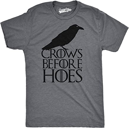 031ebd91 Mens Crows Before Hoes Funny T Shirt for Men Vintage Novelty Hilarious Gag  Gift