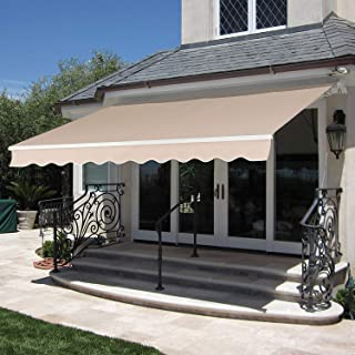 MCombo 12x10 Feet Manual Retractable Patio Door Window Awning Sunshade Shelter Outdoor Canopy (Beige)