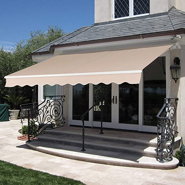 MCombo 12x10 Feet Manual Retractable Patio Door Window Awning Sunshade Shelter Outdoor Canopy Beige