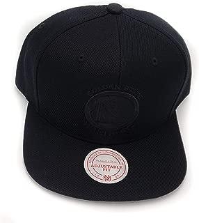 Mitchell & Ness Golden State Warriors Solid Wool Black on Black Logo Adjustable Snapback Hat