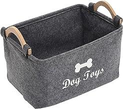 Xbopetda Fiber Soft Felt Dog Storage Basket Bin Organizer - with Wooden Handle - Pet Supplies Storage Basket/Bin Kids Toy ...