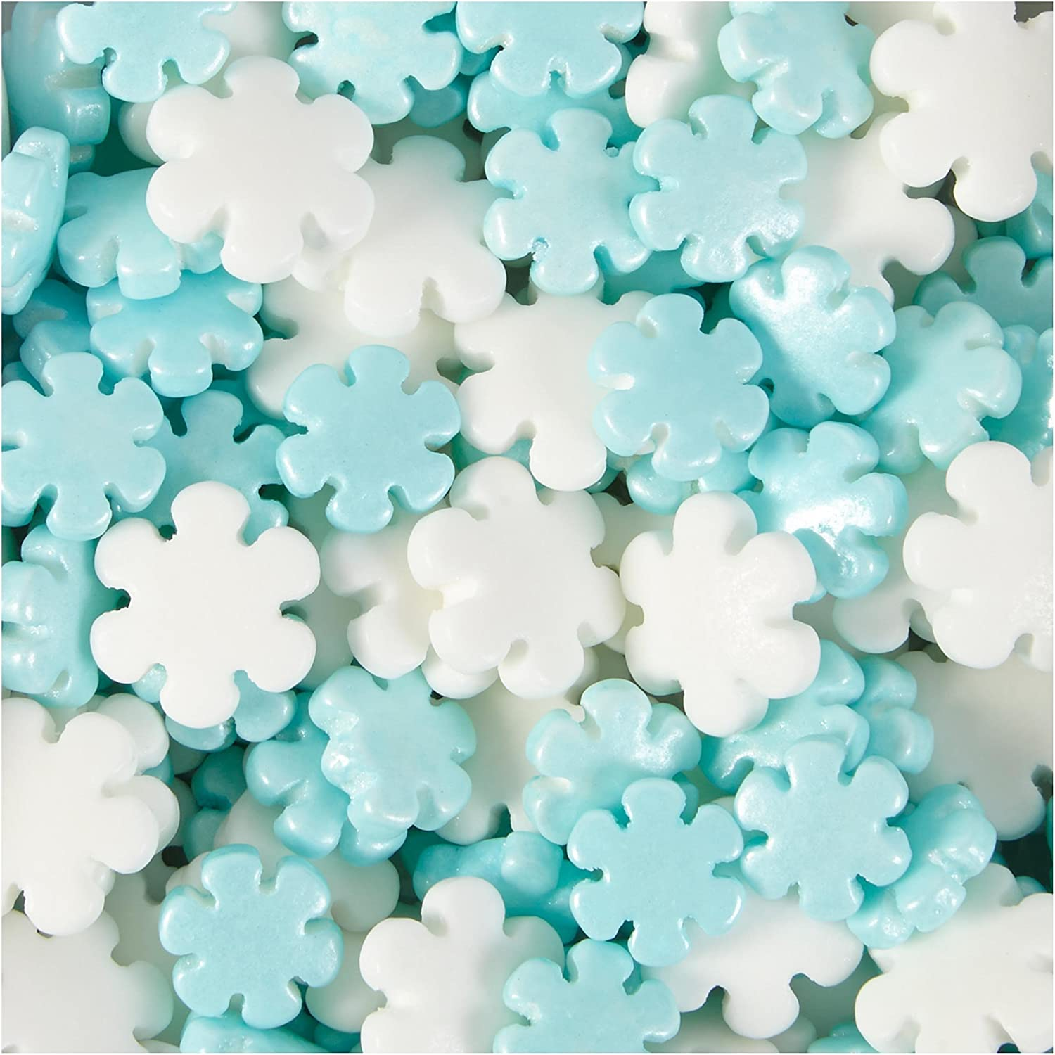 Edible Snowflake Sprinkles White and Blue 75g