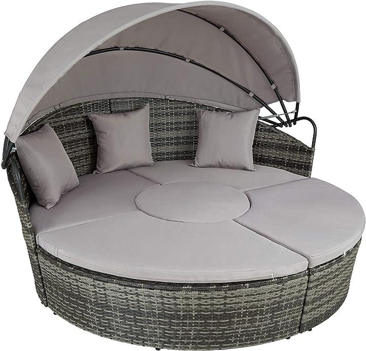 Isola prendisole giardino in rattan, tettuccio parasole pieghevole, componibile versatilità tectake 800718