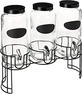 Circleware 69111 Trimont Set of 3 Glass Beverage Dispensers with Lid Chalkboard & Black Metal Stand, Entertainment Kitchen Glassware for Water, Juice, Wine, Kombucha and Cold Drinks, 118 oz, Clear