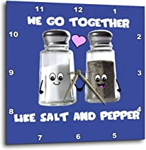 3dRose DPP_58328_2 We Go Together Like Salt and Pepper Cute Smiling Cartoon Condiments Shakers in Love Navy Blue Wall Clock, 13 by 13-Inch