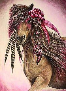 Reofrey 5D Diamond Painting Kit Horse Flower Feather Animal Full Drill, Dream Catcher Paint with Diamonds Art Rhinestone C...