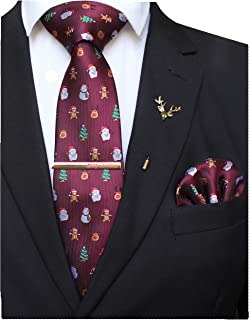 JEMYGINS Festival Christmas Tie and Pocket Square with Tie Clip and lapel pin Set