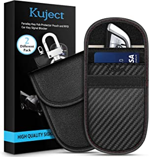 Faraday Key Fob Protector Bags (2 Different Pack), Kuject RFID Signal Blocking Pouch - Faraday Cage Car Key Anti Theft Signal Blocker Case