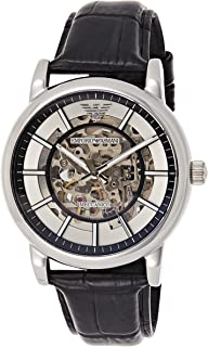 Emporio Armani Mens Automatic Watch, Analog Display and Leather Strap AR1981