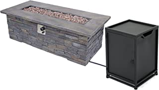 Christopher Knight Home 305417 Welsh Outdoor Light Weight Rectangular Fire Pit, Natural Stone, Black