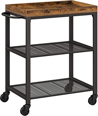 VASAGLE Bar cart, Kitchen Serving Cart, Universal Casters with Brakes, Leveling Feet, Kitchen Shelf with Mesh Shelves, 23.6 x 15.7 x 29.5 Inches, Rustic Brown ULRC75BX