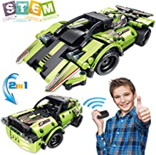 Kididdo Building Toys Gifts for Boys & Girls Age 6yr-12yr, 2 in 1 Construction Engineering RC Speed Racer for 7, 8, 9,10 Year Old, Educational STEM Remote Control Building Blocks Car Toy 335 Pcs