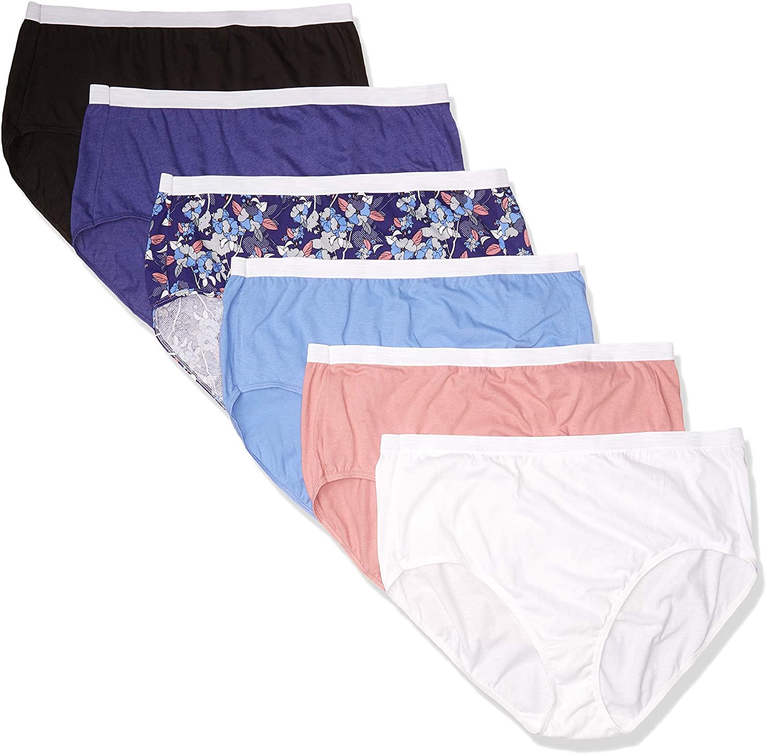 JUST MY SIZE Women's Plus Size Cool Comfort Cotton Brief 6-Pack