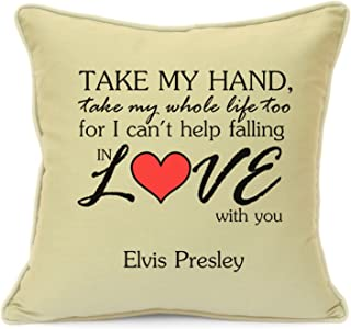 Elvis Presley Take My Hand Love Song Beige Cushion Cover Gift Gift for Him Her Husband Wife Girlfriend Boyfriend Valentines Day Wedding Anniversary Gifts 18 Inch 45 cm by Imran's Gift Shop