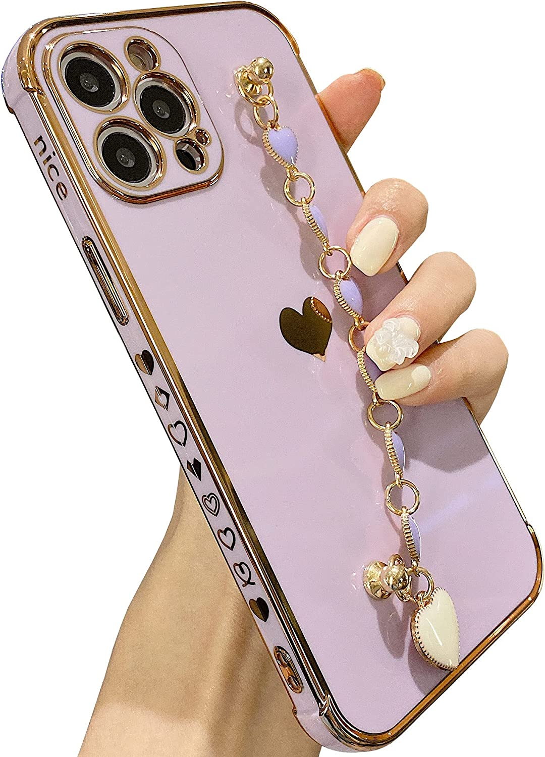 JEUTIEN Cute iPhone 12 Pro Max Case for Women & Girls, Plated Gold Glitter Cover with Love-Heart Strap Bracelet Chain Soft Flexible Glossy TPU Bumper Protective Phone Cases 6.7