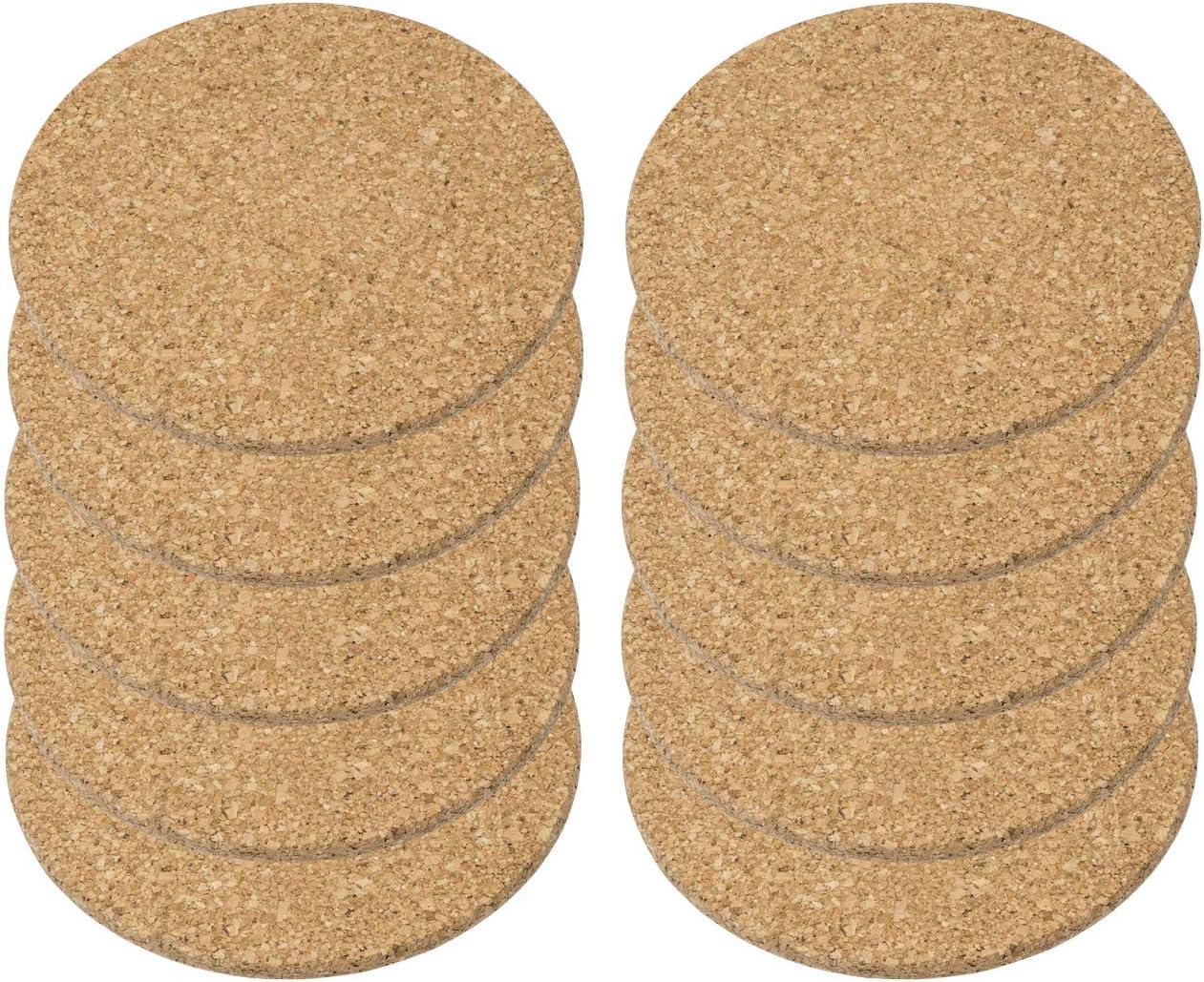 Hauteur : 1 cm Diam/ètre : 19,5 cm Lot de 4 dessous de plat en li/ège Finitions soign/ées Qualit/é sup/érieure