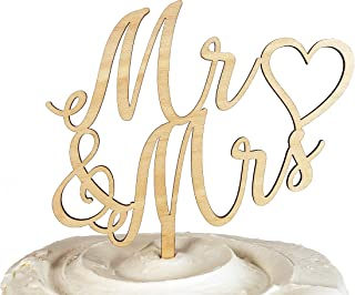 Mr and Mrs Wedding Cake Topper, Rustic Bride and Groom Wooden Cake Topper (6