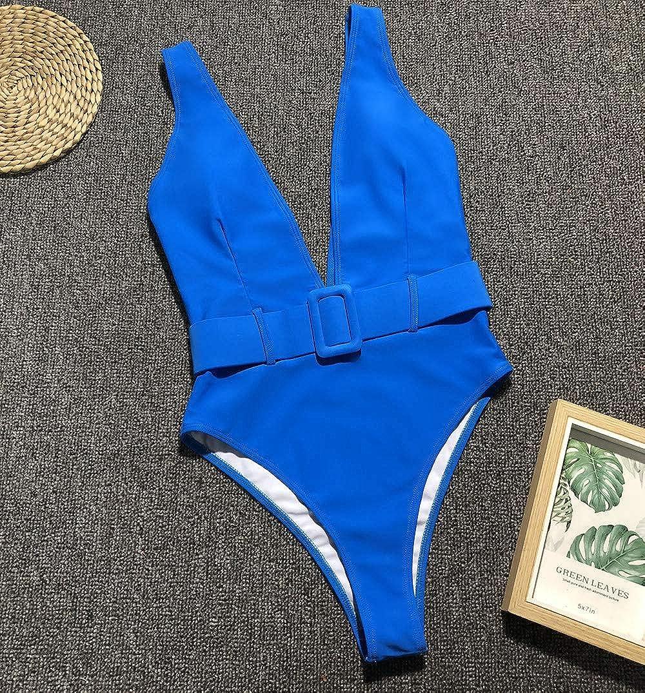 MOPOOGOSS Womens Sexy Deep V Neck High Waist Push Up Belt One Piece Swimsuits Swimwear