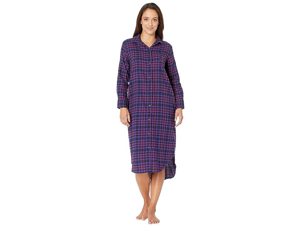 LAUREN Ralph Lauren Petite Long Sleeve Ballet Length Sleepshirt (Purple Plaid) Women