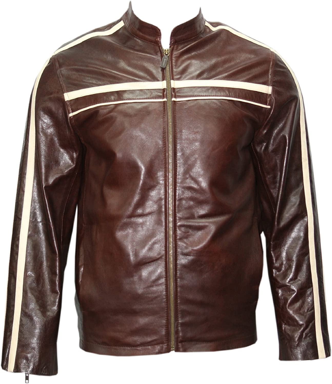 Smart Range Men's 4050 Brown with Beige Stripe Biker Retro Style Soft Nappa Leather Jacket