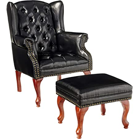 Coaster Home Furnishings Wing Back Button Tufted Accent Chair And Ottoman Black And Espresso Furniture Decor