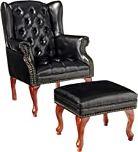 Coaster Home Furnishings Wing Back Button Tufted Accent Chair and Ottoman Black and Espresso