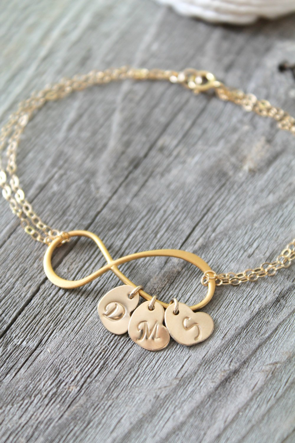 2021 Personalized infinity bracelet initial heart gold fil 14k Max 66% OFF tags
