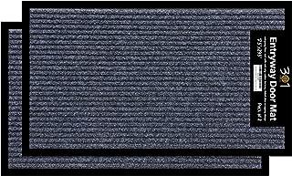 2-Pack Doormats for Entrance Way Outdoors, Shoe Scraper Rug (17.5 x 29.5) All-Weather Floor Mat for Heavy Traffic Area, Garage, Patio, Indoor, Durable Rubber Mat, Heavy-Duty, Easy-Clean, Anti-Slip Rug