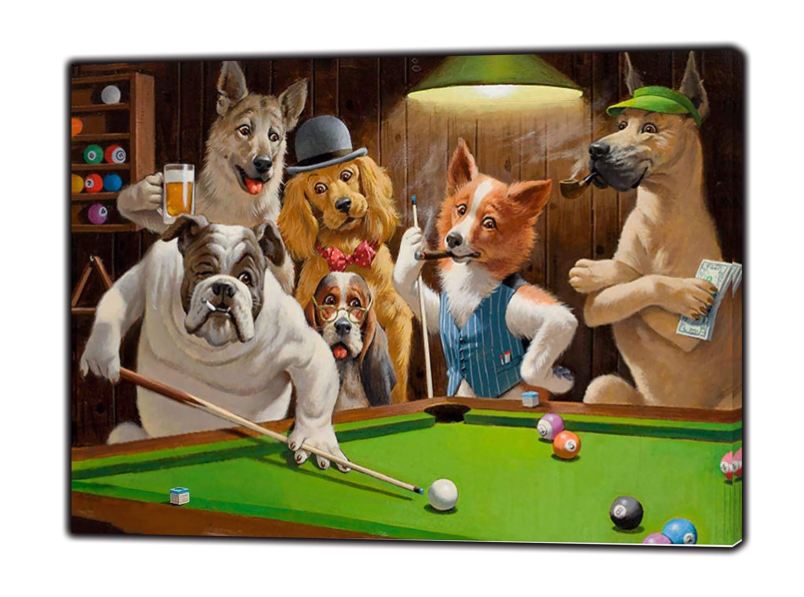 Cuadro sobre lienzo Perros jugando al billar Impresión fotográfica ...