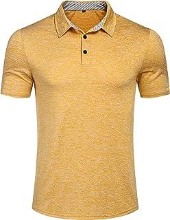 ed8c2494 Romanstii Men's Polo Shirt Short Sleeve Casual Fit Plaid Collar T-Shirts