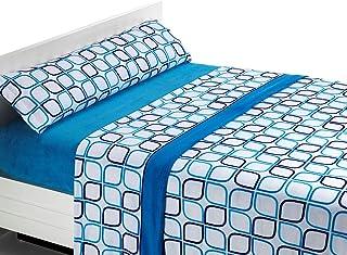 SABANALIA Juego de sábanas de coralina Spring - Azul, Cama